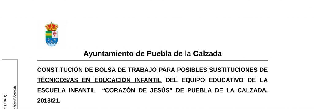 CONSTITUCIÓN Y ACTUALIZACIÓN DE BOLSA DE TRABAJO DE TÉCNICOS/