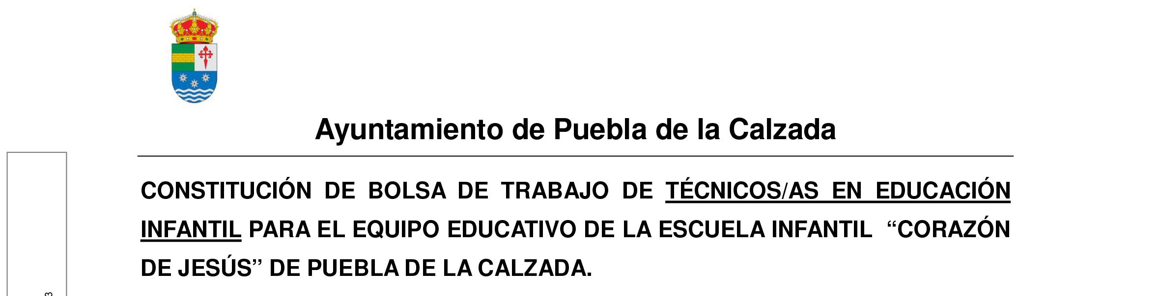 BOLSA DE TRABAJO PARA LA SUSTITUCIÓN DEL EQUIPO EDUCATIVO DE LA ESCUELA INFANTIL 'CORAZÓN DE JESÚS'